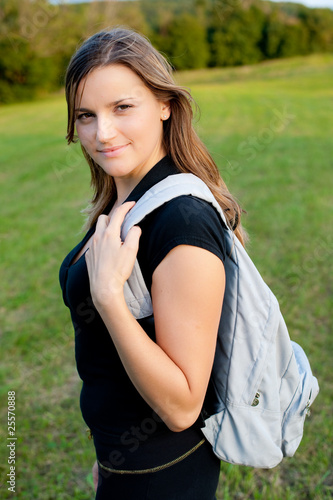 Backpacker young teenage girl