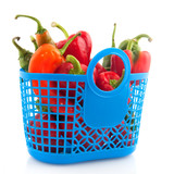 Blue shopping bag with vegetables