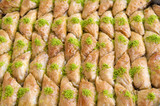 Baklavas with pistachio in Turkey