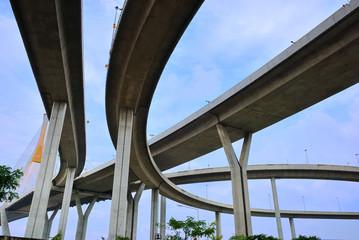 Curve of the suspension bridge with brighten sky view