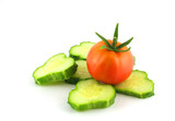Cutted cucumber and tomato
