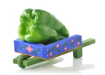 decorative blue wheelbarrow with green pepper