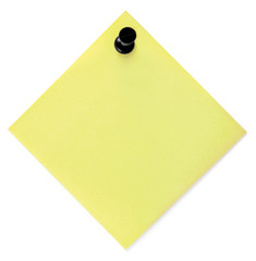 Blank Yellow To-Do List Sticker With Black Pushpin Isolated