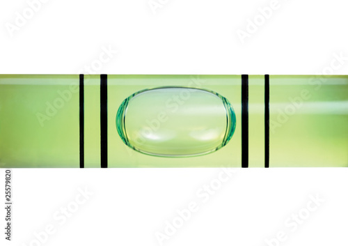 Large levelled spirit level gauge macro closeup, isolated