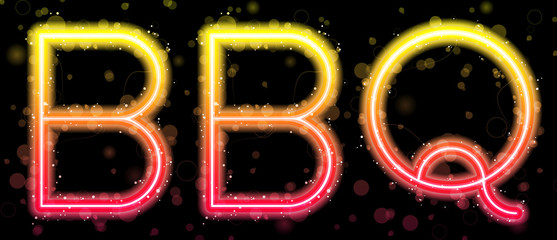 Barbecue Orange and Yellow Neon Sign
