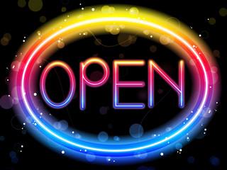 Open Neon Sign Rainbow Color