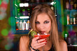 Девушка в баре с коктейлем, фото 2046308, снято 23 июня 2010 г. (c) Jan...