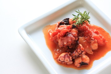 Italian food, octopus and tomato