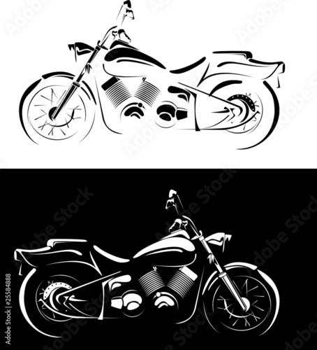 motobike is isolated on white and black background