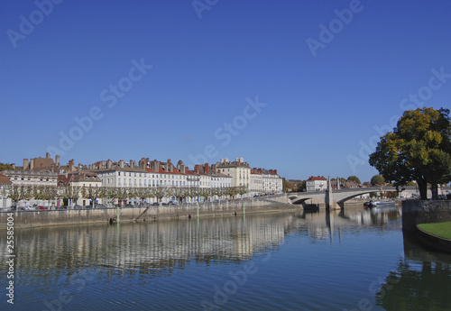 Reflection on Saone river in Chalon-sur-Saone France