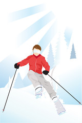 Vector illustration of a skier skiing in the mountain