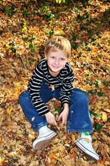 happy autumn boy