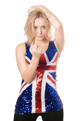 Sexy blonde in union-flag shirt