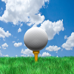Golf ball under cloudy sky