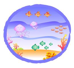 Oblò con fondo marino: pesci meduse e alghe