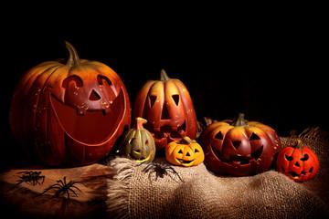 Still life with pumpkins, black background