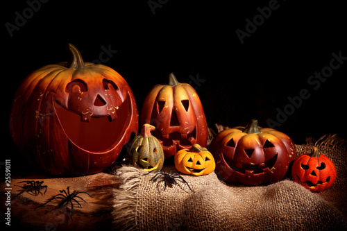 Still life with pumpkins, black background