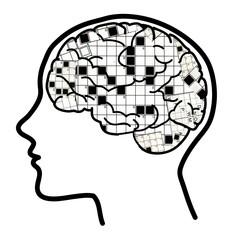 Enigmistica: cervello con testure parole crociate