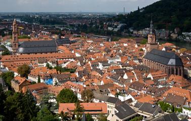 Heidelberg, Altstadt mit Heiliggeistkirche und Jesuitenkirche