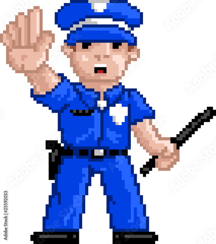 Foto op Canvas Pixel PixelArt: Police Officer