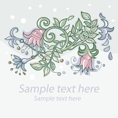 sad floral background with decorative flowers
