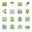 Banking web icons. Gray and green series.