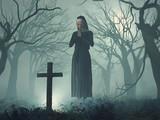 Nun in prayer before cross at night
