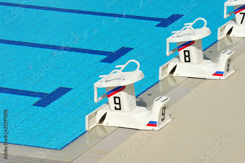 Foto op Plexiglas Water Motorsp. Starting Blocks Of A Competition Swimming pool