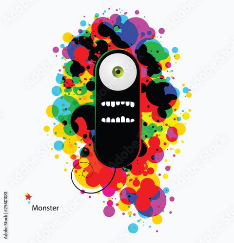 Black cartoon monster on abstract asid background