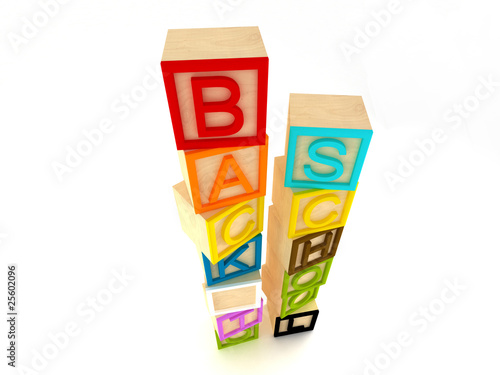 Back to school - wooden blocks letters