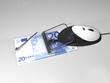 computer mouse caught on money mousetrap