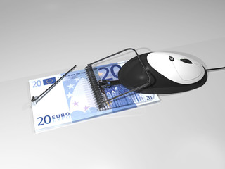 computer mouse caught on money mousetrap
