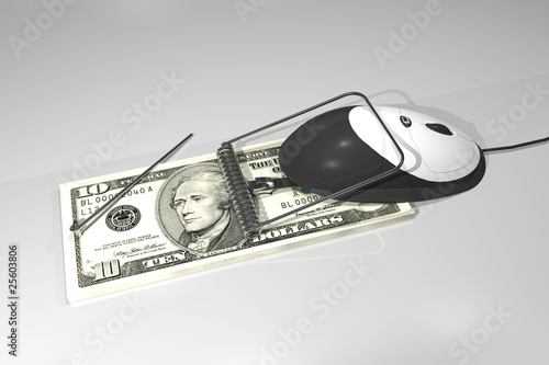 computer mouse caught on a dollarbill