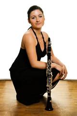 Beautiful clarinetist women