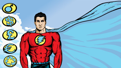 Superhero with flowing cape