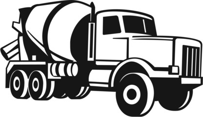 Cement Mixer Truck Vinyl Ready Vector Illustration