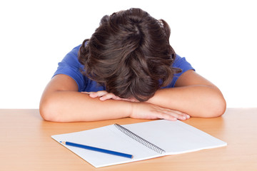 Student child asleep on his desk