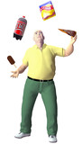 Obese man juggles junk snack food poster