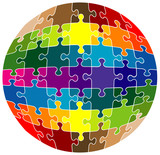 Colorful rounded puzzle - vector