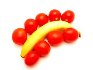 Banana and tomatoes