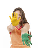 girl with paint on hands