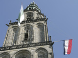 Martinitower in Groningen, The Netherlands with flags