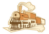 Old locomotive on white for design
