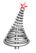 Abstract silver aluminum christmas tree with clipping path