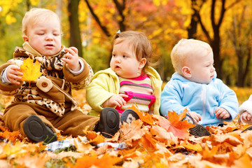 Autumn leaves and babies