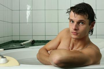 Young Sexy Man Taking Bath