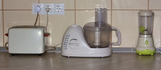 Toaster, blender and food processor on counter-top