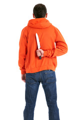 standing man with knife for backs