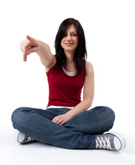 young woman with long hair pointing you