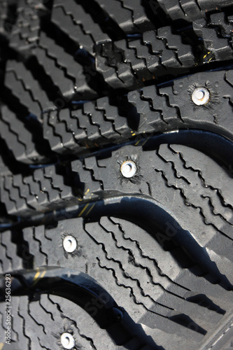 Close-up of a studded tire tread